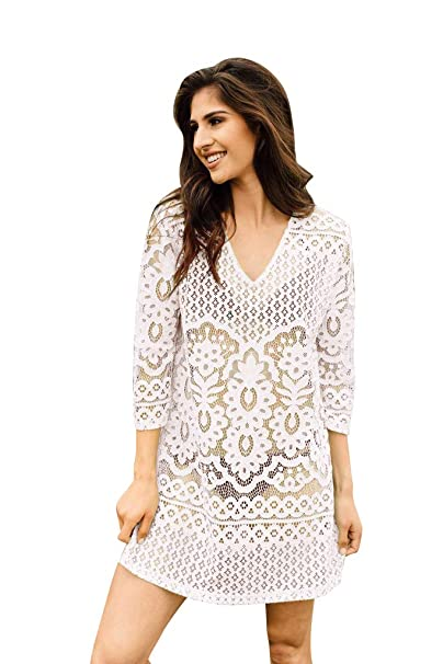 d1e888df23f Image Unavailable. Image not available for. Color: NFASHIONSO Fashion  Floral Lace V-Neck Beach Swimsuit Cover Up White