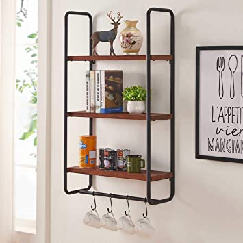 BON AUGURE 3 Tier Wall Mounted Shelf with Hooks, Rustic Wooden Kitchen  Hanging Shelves for Wall, Entryway Floating Shelving Unit (Walnut)