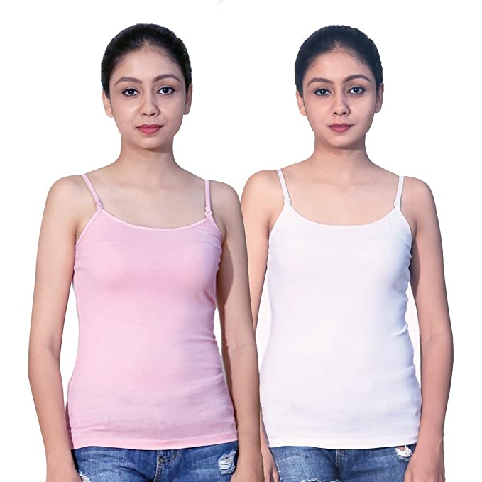 b2f7c27f41d09f Letizia Women s Cotton Camisole Pack of 2 Without Padded (White   Pink)  (White