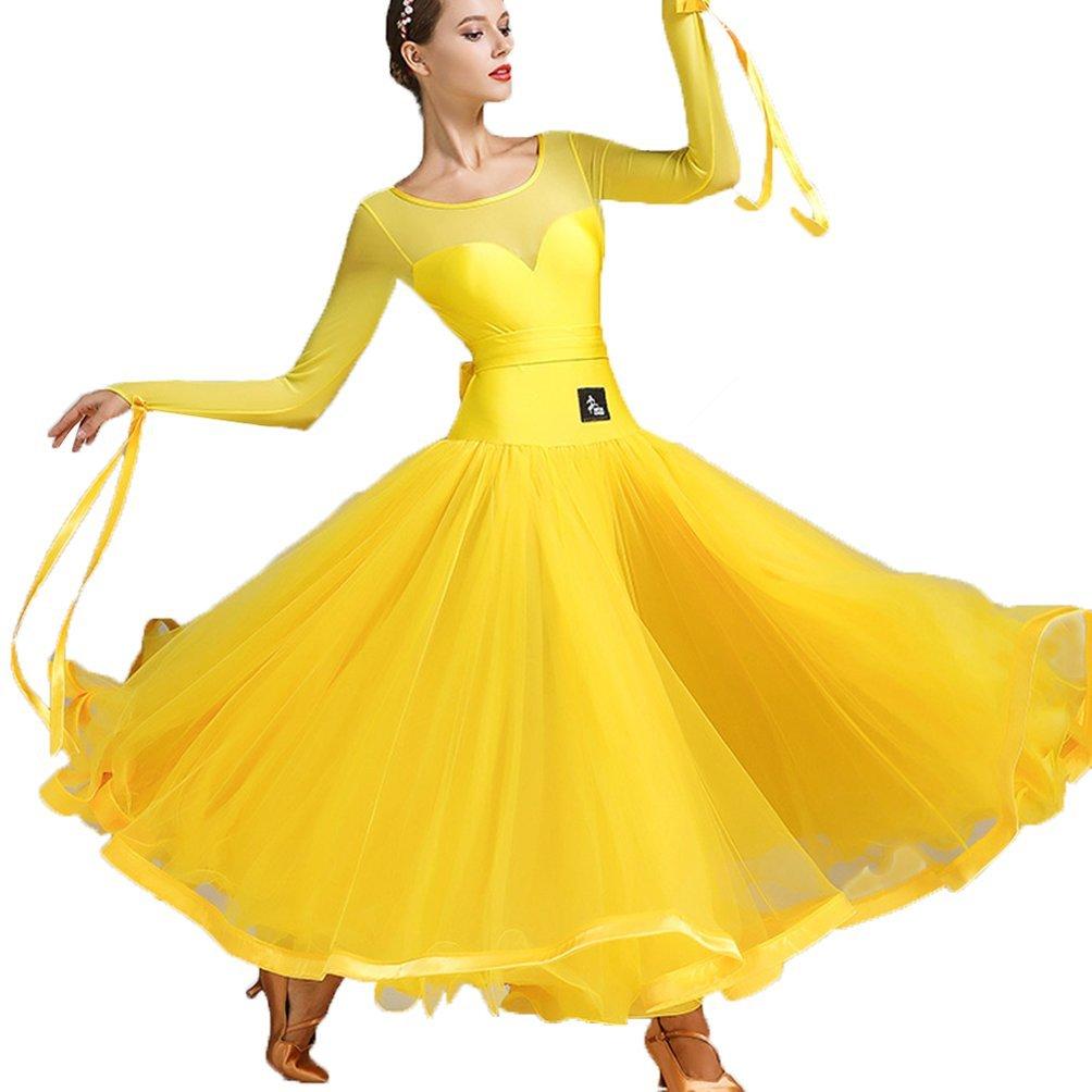 jaune XXL Robes de Salsa de Danse Professionnelles Classique Simple Couture de Maille Costume Modern Perforhommeces Valse Tango Foxtrouge Grande Robe de Balançoire
