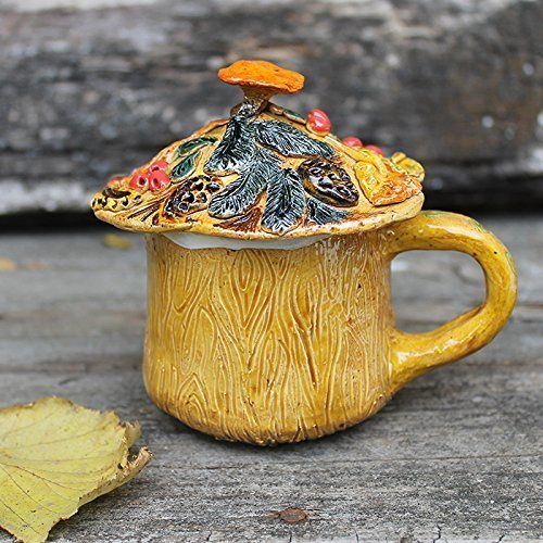Ceramic lidded mug, fall decor coffee mug with lid, autumn colors covered tea cup hand built, Mulled Wine Stein
