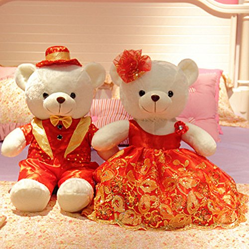 YXCSELL 3 FT 39 Inches Cute Soft Plush Stuffed Animals Giant Big White Teddy Bear Couple for Wedding Ceremony Perfect White Pair Teddy (Where Can I Get Cheap Halloween Costumes)
