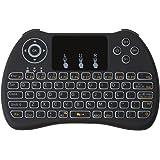 [Versione Aggiornamento], IDEAPRO, Mini Tastiera Wireless 2.4G multimediale portatile Touchpad Android tastiera retroilluminata con mouse tasto destro e sinistro per PC/PAD/Xbox 360/PS3/Google Android TV Box, HTPC/IPTV (Nero)