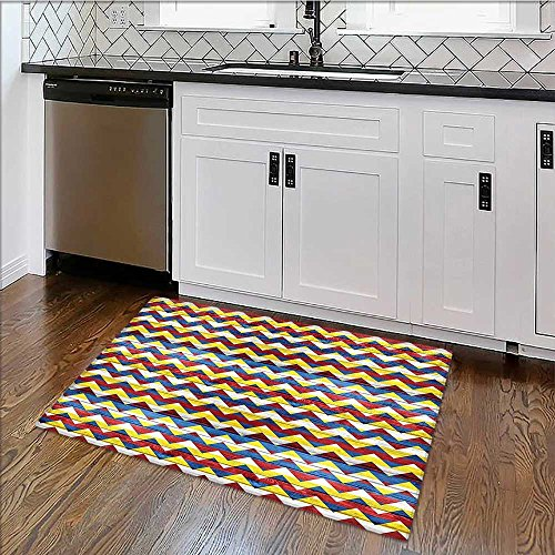 Soft Microfiber Shag Bath Rug Shapes inColors Simple al Coat of Arms Symbol Blue Geen Red Weather-Proof and Mold W39