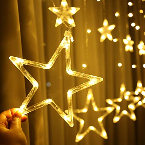 Novtech LED Star Curtain Lights 12 Stars Curtain String Lights 8 Modes – Waterproof Plug in Christmas String Lights for Home Wedding Holiday Party Bedroom Valentine Christmas Decoration – Warm White
