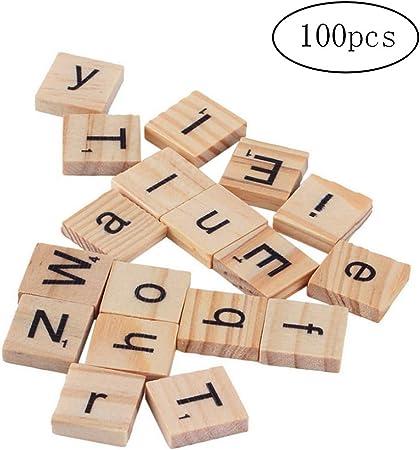100 piezas de madera del alfabeto Scrabble Azulejos del cuadrado del alfabeto las letras de molde con números para la artesanía muy asequibles y duraderos de la Alfabetización y la ortografía: Amazon.es: