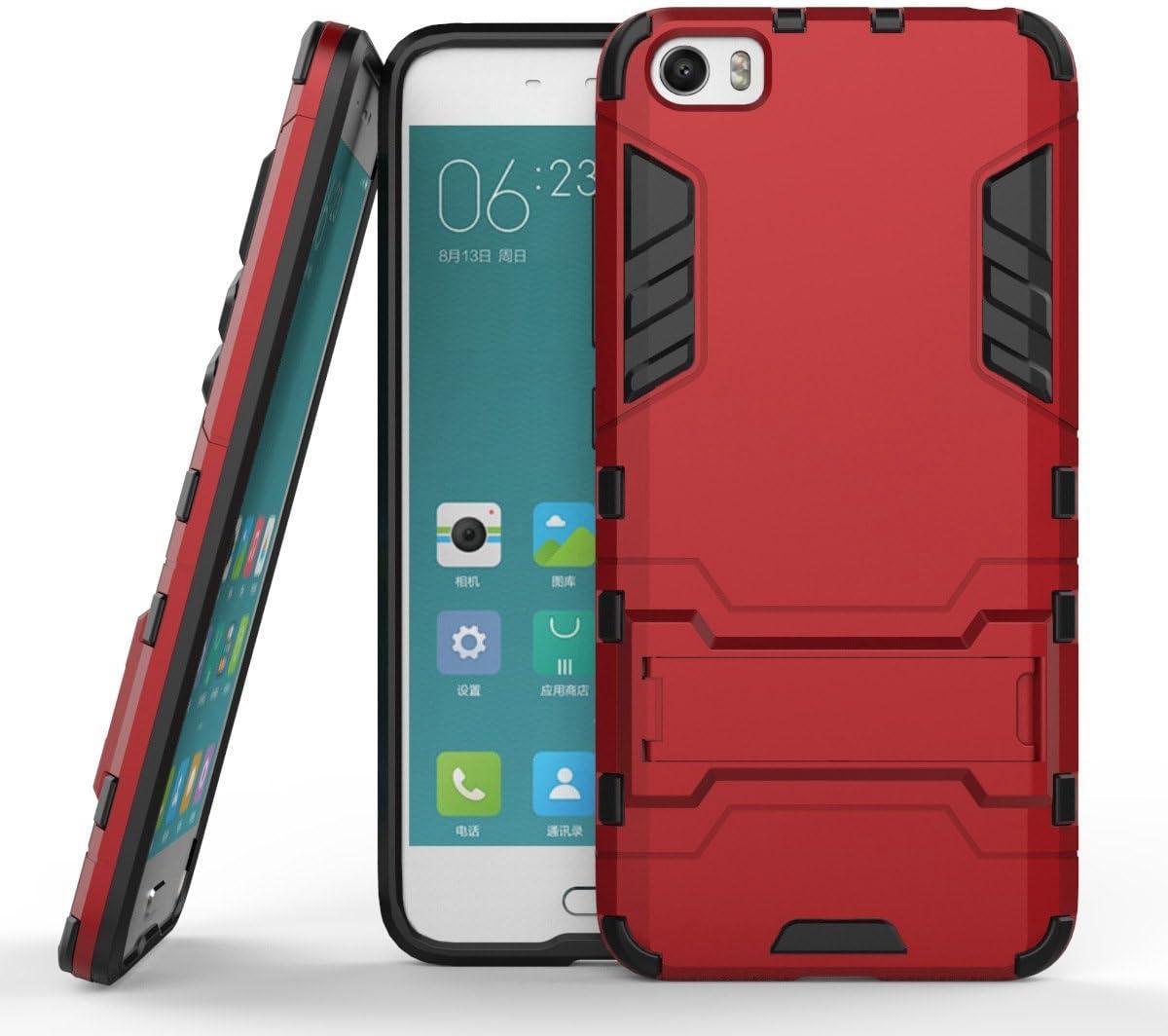 Funda Libro para Xiaomi Mi5 , Ycloud el teléfono Strongest a prueba de golpes armadura doble protección de concha protectora de duro soporte cubierta protectora Vino tinto: Amazon.es: Electrónica