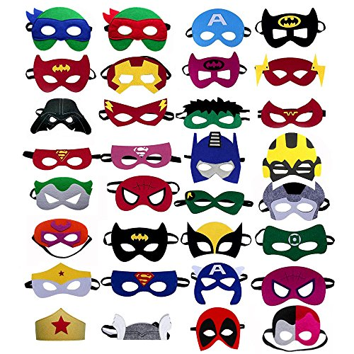 Superhero masks - Super hero party favors for kids, and birthday supplies 32 set for kids party by HeroesSupplykits