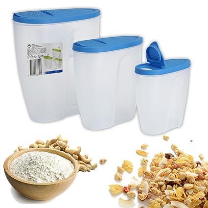 Contenedores de cereales dispensador de plástico Cocina Almacenamiento de alimentos Harina de desayuno (3 azul