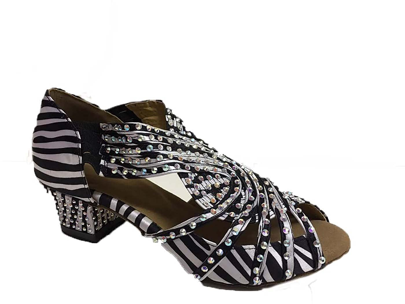5b0b727a11fd8 Zebra Black and White Shoe - Satin and Aurora Stones with Suede Sole, Open  Toe Dance Shoes for Line, Latin, Ballroom, Jive, Ceroc, Salsa & Tango UK ...