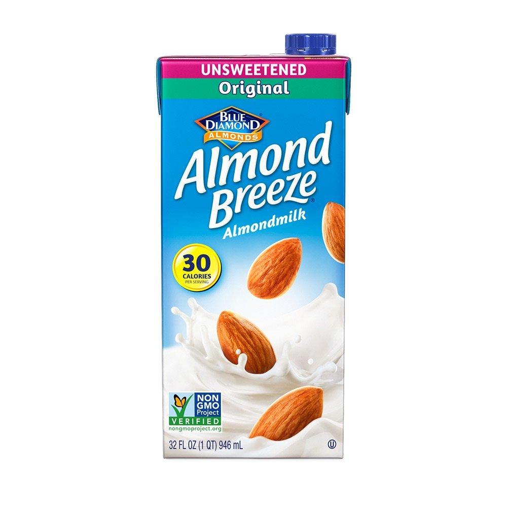 Almond Breeze Dairy Free Almondmilk, Unsweetened Original, 32 Ounce (Pack of 12) by Blue Diamond Almonds (Image #1)