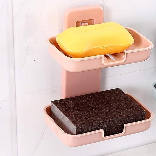 Mczcent soporte de esponja con 2 jaboneras de color beige f/ácil limpieza de secado r/ápido soporte de jab/ón para ducha y ba/ño de ducha bandeja de jab/ón para ba/ño de ducha Jabonera de drenaje