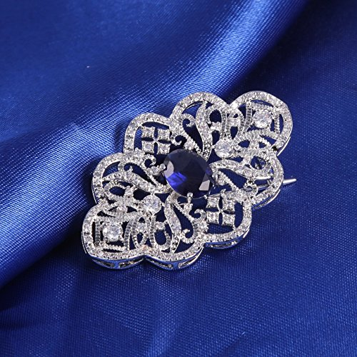 GULICX Royal Brooch Art Deco Silver Plated Base Art Deco Blue Cubic Zirconia Sapphire Color Pin for Women by GULICX (Image #3)