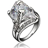 BLOOMCHARM 18K Gold Plated Cubic Zirconia Engagement Wedding Eternity Ring, Gifts for Women Girls