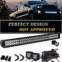 DOT Certified - 180W 32/30 INCH LED Light Bar & 2 x 4 Pods 18W Driving Fog Light & Wiring Harness Kit for Offroad Ford F150 F250 Jeep Tacoma Polaris Chevy Silverado GMC Truck Nissan Frontier Xterra