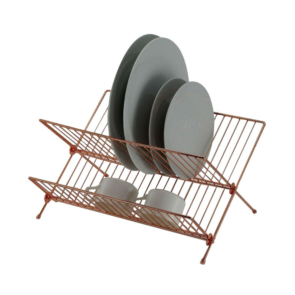 2 Tier X Shape Folding Dish Drainer - Dish Rack - Anti Rust High Quality Dish Drying Rack Sasma