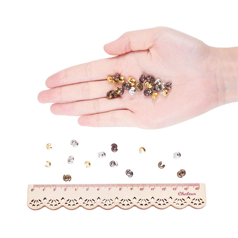 Mixed Color NBEADS 500 Pcs 5mm Iron Tube Crimp Beads Covers Jewellery Making Findings