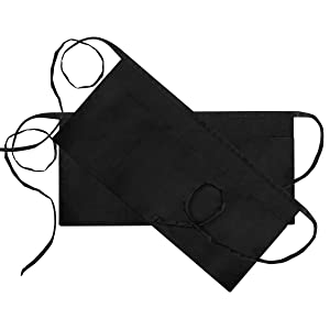 Syntus 2 Pack 3 Pockets Waterdrop Resistant Waitress Waist Apron, 11.5-inch Black
