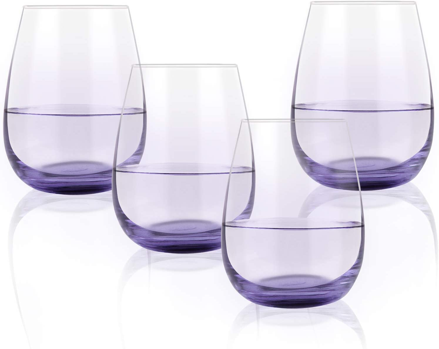 Colored Stemless Wine Glass Set of 4, 15 Oz Vibrant Wine Glass with Purple Bottom for Men Women Friend Coworker Lover, Gift Idea for Party Festival Daily Use