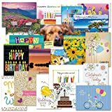 Mega Birthday Greeting Cards Value Pack - Set of 40 (20 designs), Large 5'' x 7'', Birthday Cards with Sentiments Inside, White Envelopes