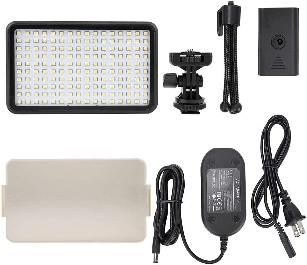 US Plug 160 Beads Dimmable 3200-6000K CRI 90 LED Video Light Panel On-Camera Video Studio Fill Light Panel with Hot Shoe Mount for Shooting Interview Live Broadcast