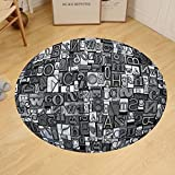 Gzhihine Custom round floor mat Retro Letterpress Theme Pattern with Old Random Metal Letters Antique Old Typography Set Bedroom Living Room Dorm Black Silver