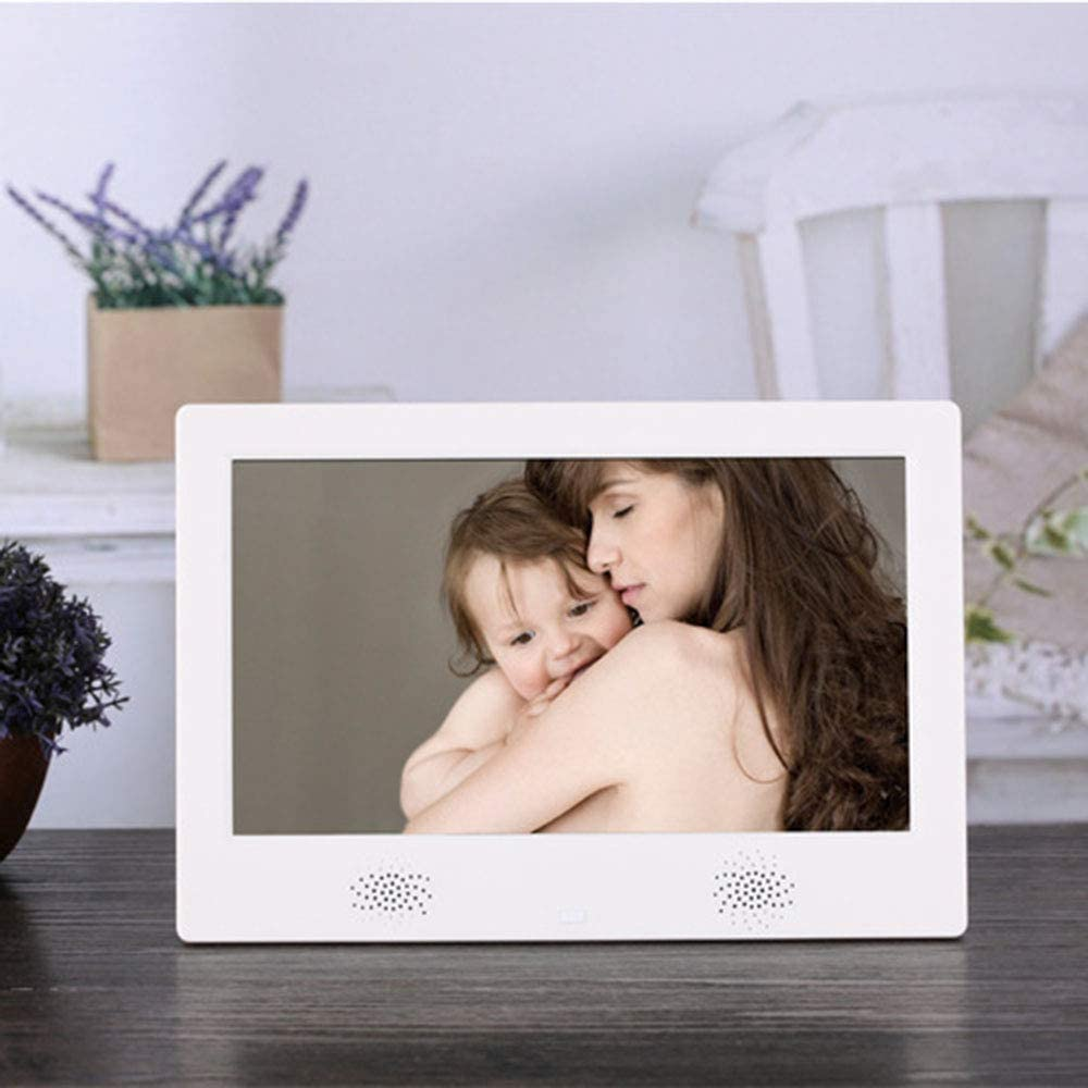 TONGTONG Digital Photo Frame 10 inch HD Electronic Picture Frame Video/Audio Player LED Display Support USB/SD/MS/MMC/3.5mm Audio Port Built-in Speaker Metal Frame with Remote Control