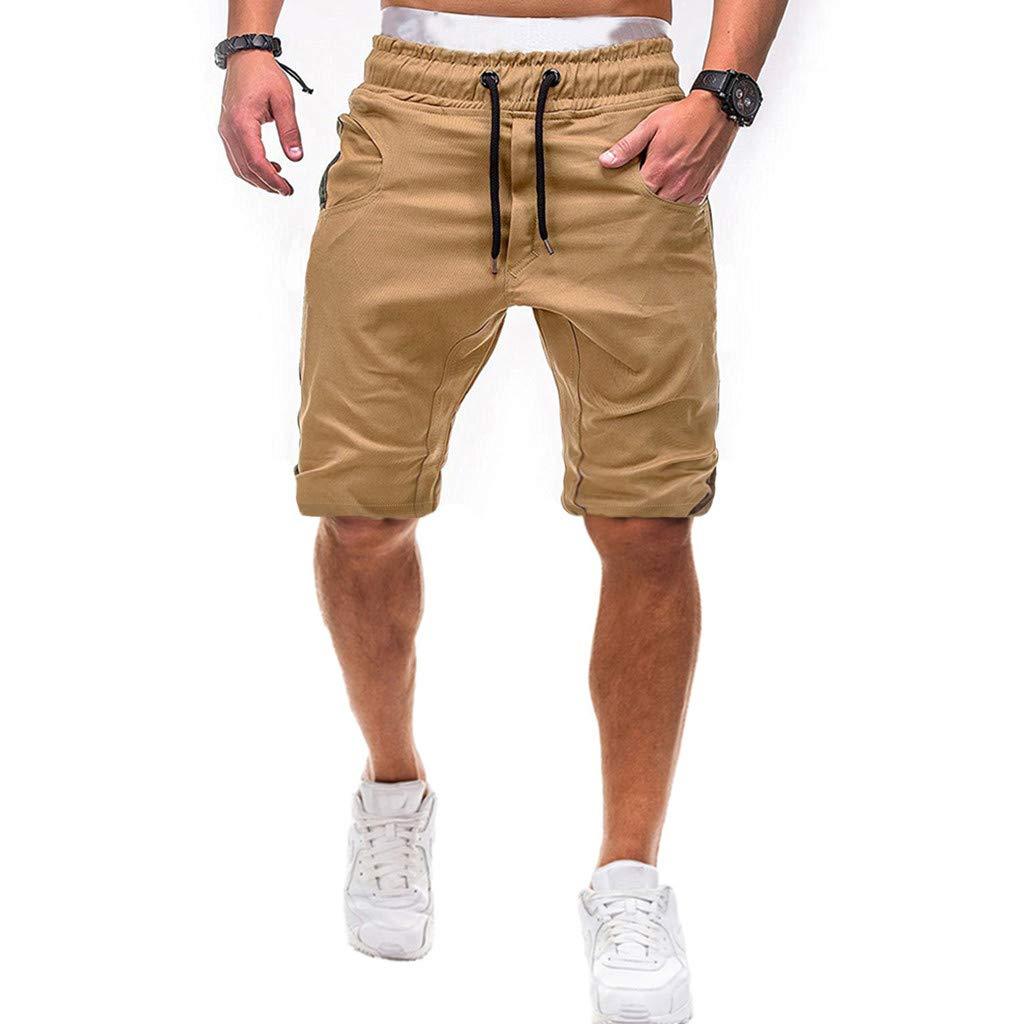 ✦◆HebeTop✦◆ Men's Cotton Casual Shorts 3/4 Jogger Capri Pants Breathable Below Knee Short Pants with Pockets Khaki