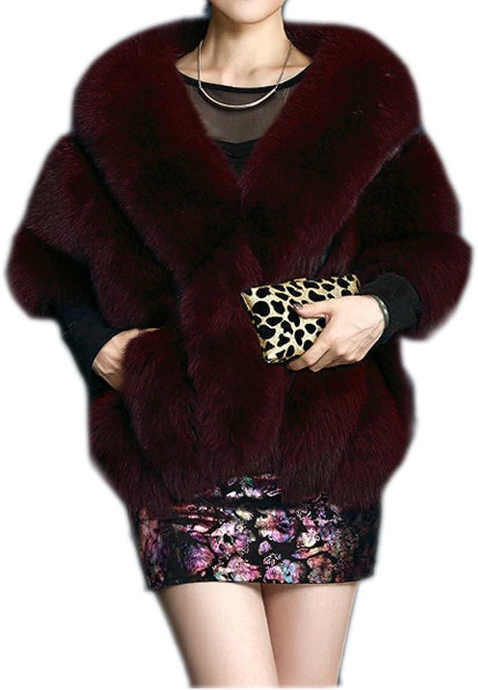 FOLOBE Boda Faux Piel Nupcial Bufandas Chaqueta Chaqueta Mujeres Thicken Faux Piel Wrap Shawls Poncho Poncho Caliente para el Vestido de Boda de Invierno