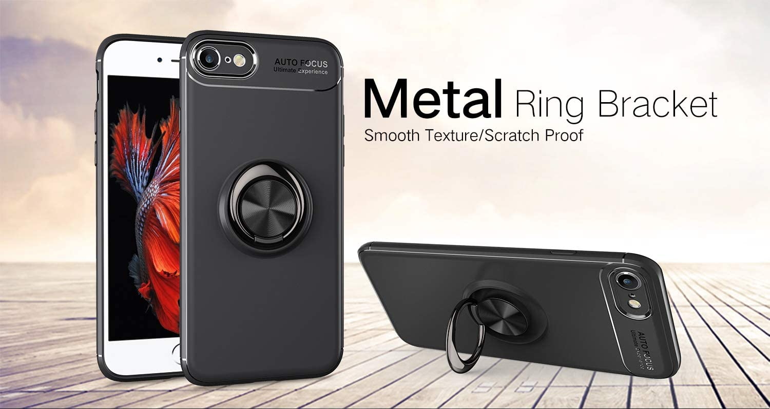 iPhone 8 Case with Ring Holder iPhone 7 Case Black cresawis 360/°Adjustable Ring Grip Stand Work with Magnetic Car Mount Anti-Fingerprint Slim Cover for iPhone 7//8