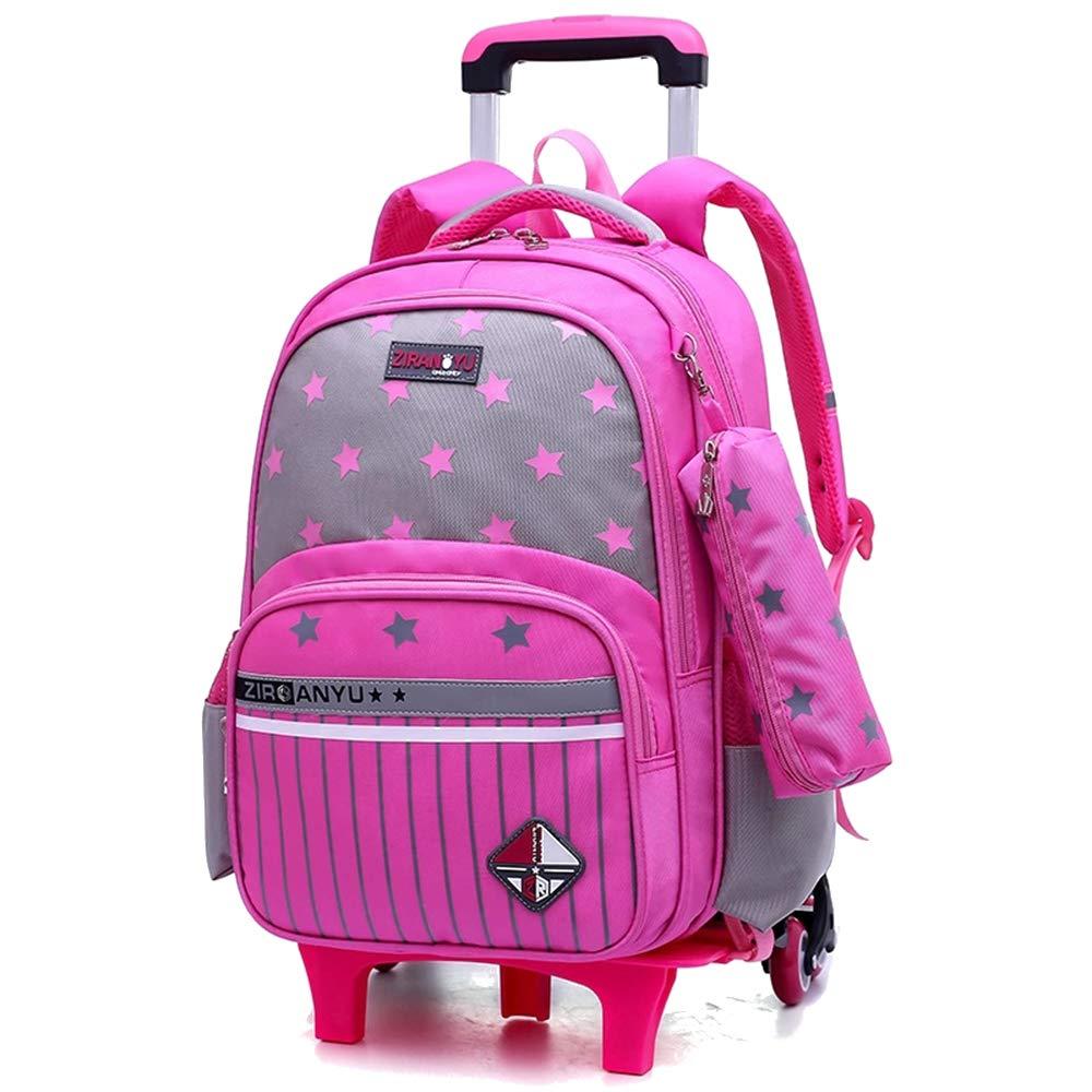 BOZEVON Zaino Scuola - Zaino In Nylon Impermeabile Trolley Estraibile Ruote Per Studenti,rosa,Taglia unica