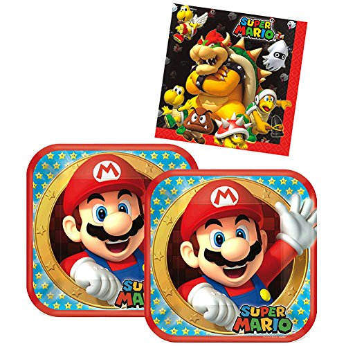 Super Mario Brothers Birthday Party Supplies Pack for 16 Guests | 16 Dinner Plates and 16 Luncheon Napkins | Plates and Napkins Set | Perfect Addition To Your Super Mario Brothers Party Decorations! -