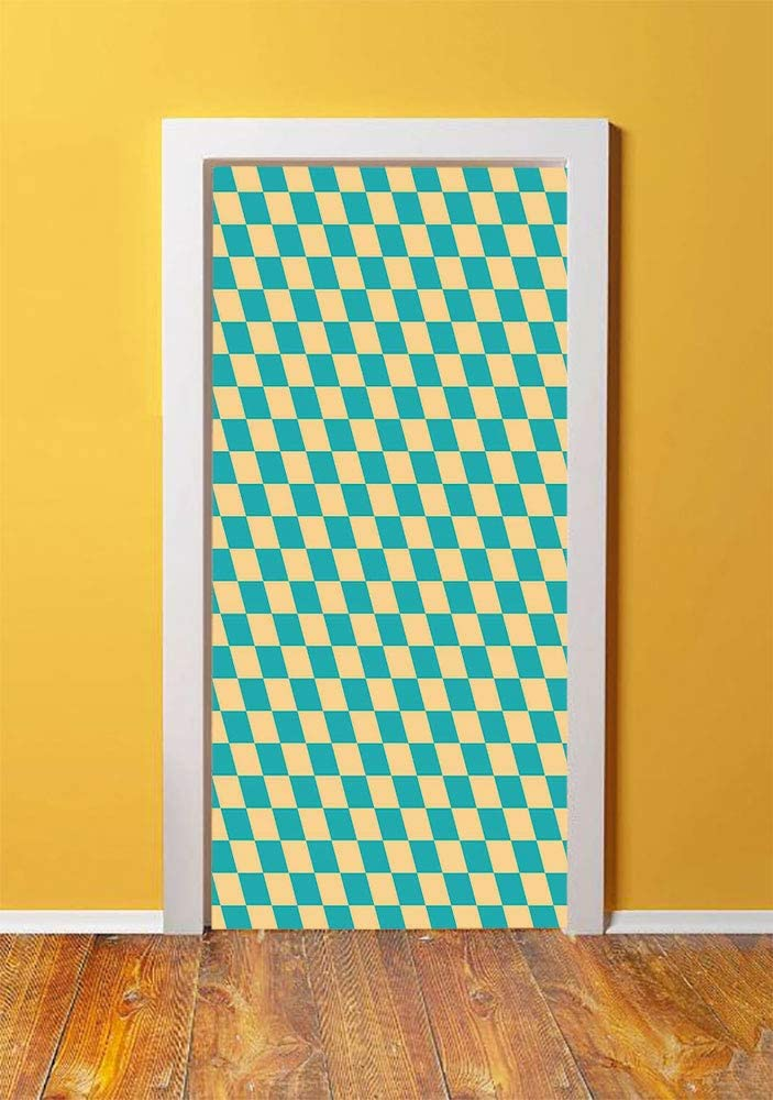 Geometric 3D Door Sticker Wall Decals Mural Wallpaper,Art Deco Style Chess Table Dart Like Horizontal Vintage Image,DIY Art Home Decor Poster Decoration 30.3x78.8007,Turquoise and Light Yellow