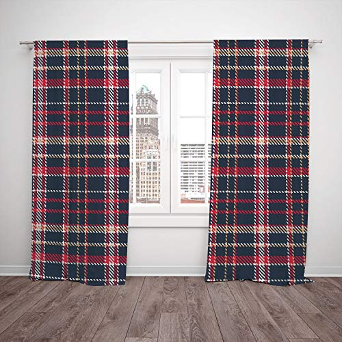 (SCOCICI Polyester Window Drapes Kitchen Curtains [ Red Plaid,Classic Quilt Checkerboard Pattern Pixel Art Inspirations Traditional Image Decorative,Multicolor] Bedroom Living Room Dorm Kitchen)
