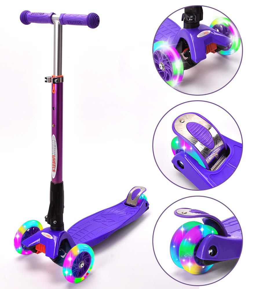 ChromeWheels Scooters for Kids, Deluxe Kick Scooter Foldable 4 Adjustable Height 150lb Weight Limit 3 Wheel, Lean to Steer LED Light Up Wheels, Best Gifts for Girls Boys Age 3-12 Year Old, Purple by ChromeWheels