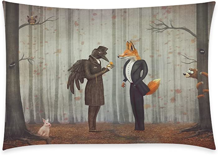 InterestPrint Home Bathroom Decor Forest Raven Fox Pillowcases Decorative Pillow Cover Case Shams Standard Size for Couch Bed-Orange-20x30 Inch-Polyester Cotton-Raven Fox Forest Rabbit Owl Bear Autumn