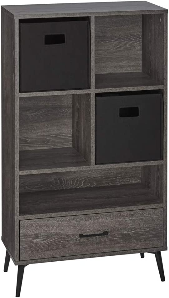 RiverRidge Home Woodbury Collection Storage Cabinet with Cubbies, Drawer and 2pc Bin - Black Weathered