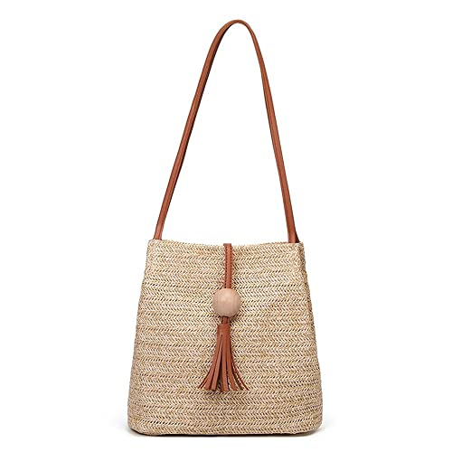 c6596222ba5bf Amazon.com: Clearance Sale! ZOMUSAR Fashion Weave Wooden Beads Tassels  Shoulder Crossbody Bags for Women Bucket Bag Small Purse (Brown): Shoes
