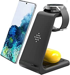 Wireless Charger 3 in 1 Fast Wireless Charging Station Qi Charger Stand for Samsung Galaxy Watch 3 41mm/45mm/42mm/46mm/Active 2/1 Gear S3,S20/S10/S10e/Note 20 Ultra 10/9/8/Z Flip,Galaxy Buds+/Live