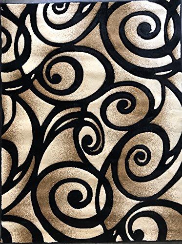 Modern Area Rug Contemporary Abstract Black Design 341 Contempo (4 Feet X 5 Feet 3 Inch) - Art Deco Carpets