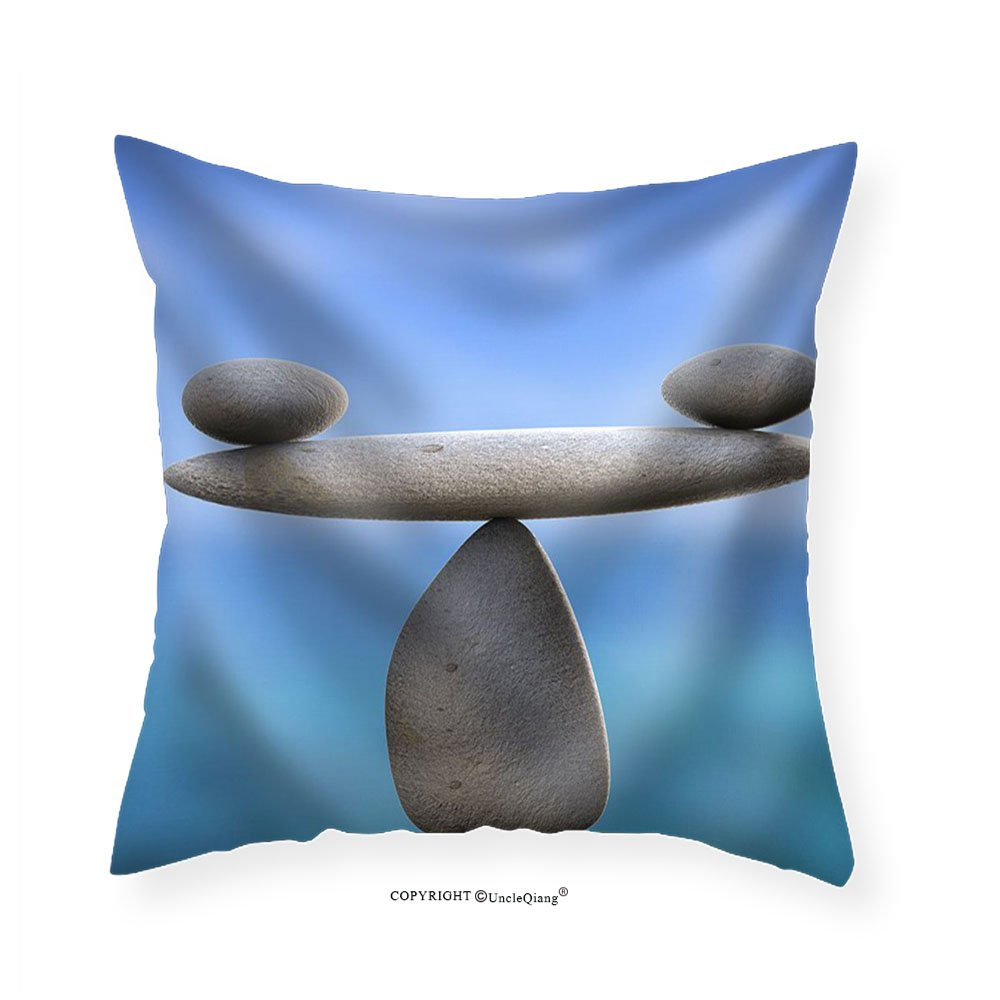VROSELV Custom Cotton Linen Pillowcase Spa Stones Showing Perfect Balance and Wellness - Fabric Home Decor 26''x26''