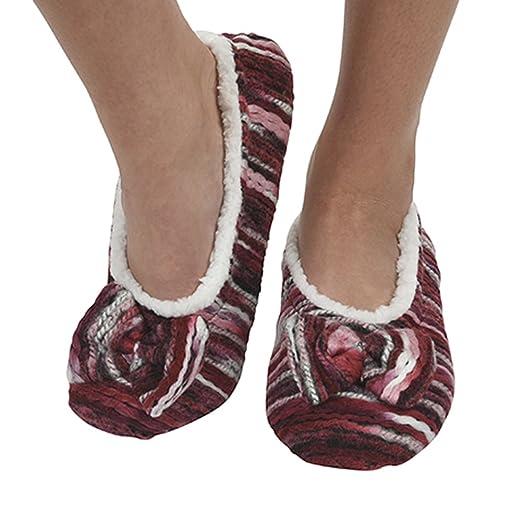 f42f4e114fc Snoozies Womens Artisan Stripes Ballerina Slipper Socks - Peach Blue