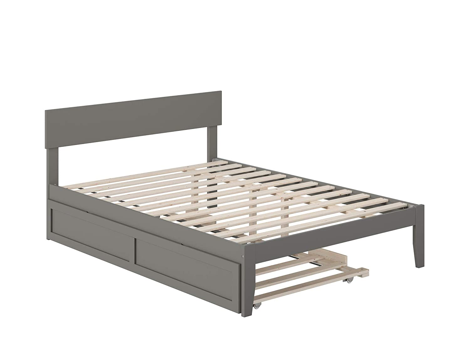 Atlantic Furniture Boston Bed with Twin Trundle, Full, Grey