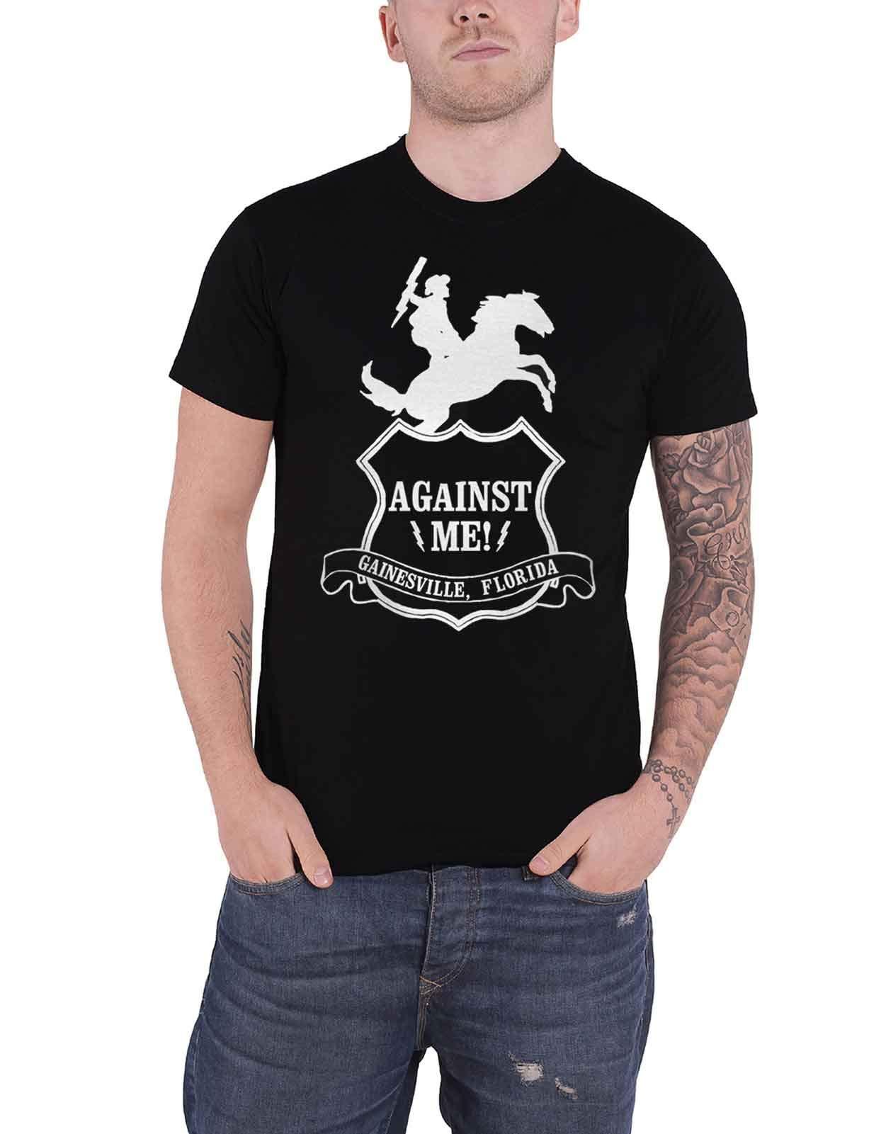 Against Me! T Shirt Cowboy Band Logo Punk Official Mens Black