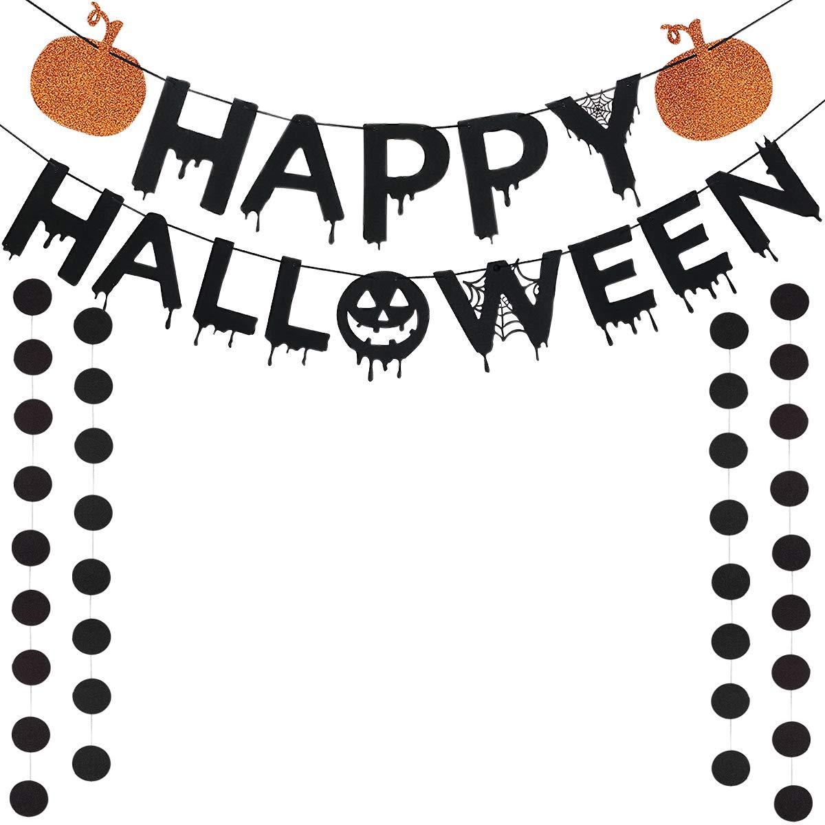 Black Glittery Happy Halloween Orange Pumpkin Banner and Black Circle Dots Garland -Home Decor Sign Outdoor Indoor Halloween Party Decoration Supplies