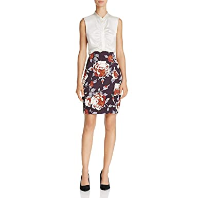 c578ba690f Image Unavailable. Image not available for. Color: Theory Womens Floral  Hourglass Pencil Skirt Black 8