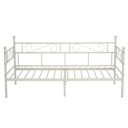 Astounding Greenforest Daybed Twin Bed Frame With Headboard And Stable Steel Slats Mattress Platform Base Boxspring Replacement Easy Assembly For Living Room Bralicious Painted Fabric Chair Ideas Braliciousco