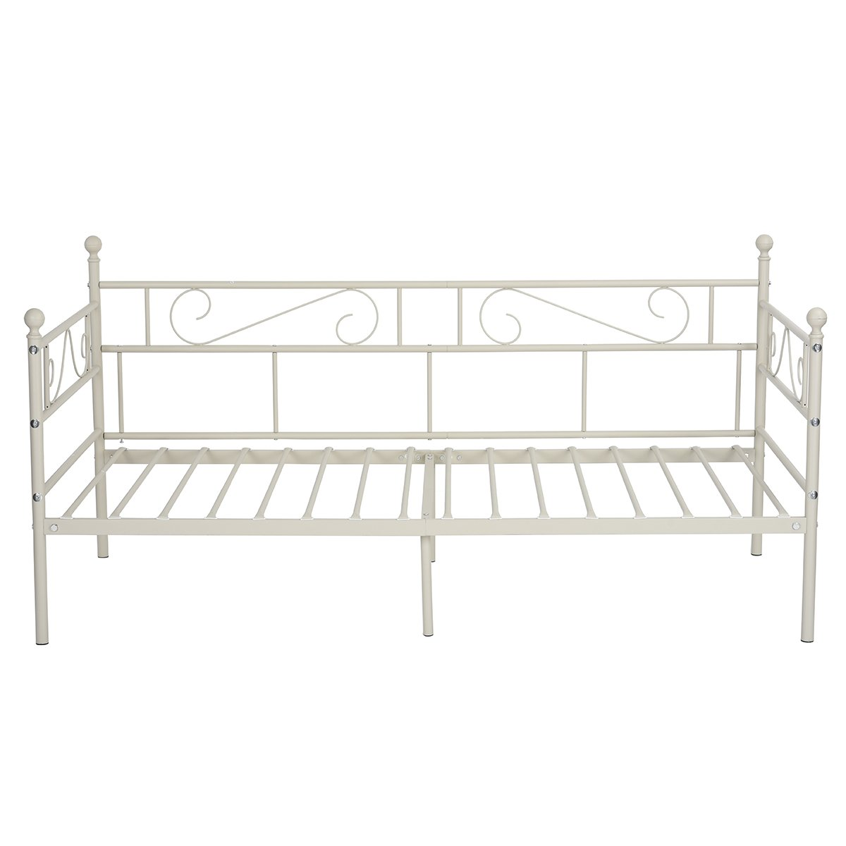 GreenForest Daybed Twin Bed Frame with Headboard and Stable Steel Slats Mattress Platform Base Boxspring Replacement Easy Assembly for Living Room Guest Room(Light Beige White)