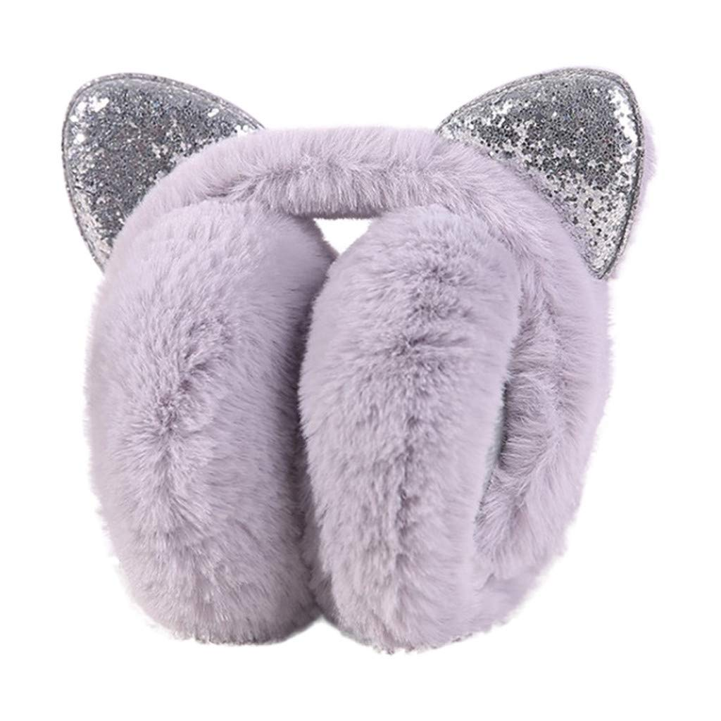 HULKAY Winter Warm Earmuffs Women Upgrade Bow Sequins Cat Ears Plush Earmuff(Purple)