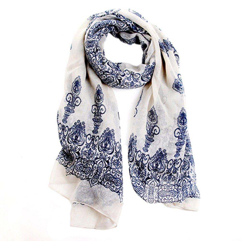 33ea9b2d538 Echarpe Foulard Long Doux Mode Nouveau Chaud Automne Hiver pour Femmes  (Crème Blanc)